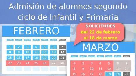 El 22 de febrero se abre el plazo de solicitud de plazas escolares