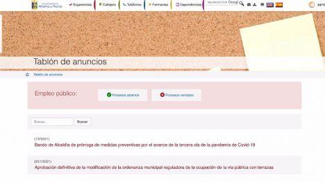 Las ofertas de empleo público, nueva sección en la web municipal