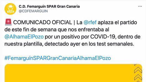 Un positivo en el Femarguín aplaza el partido del Alhama CF