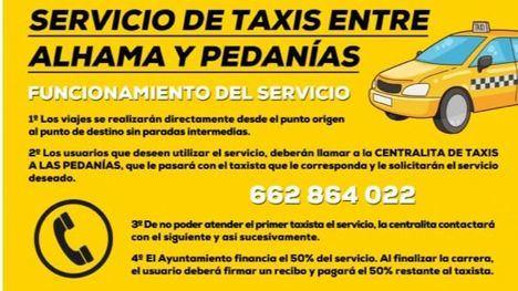 Subvención del servicio de taxis entre Alhama y las cinco pedanías