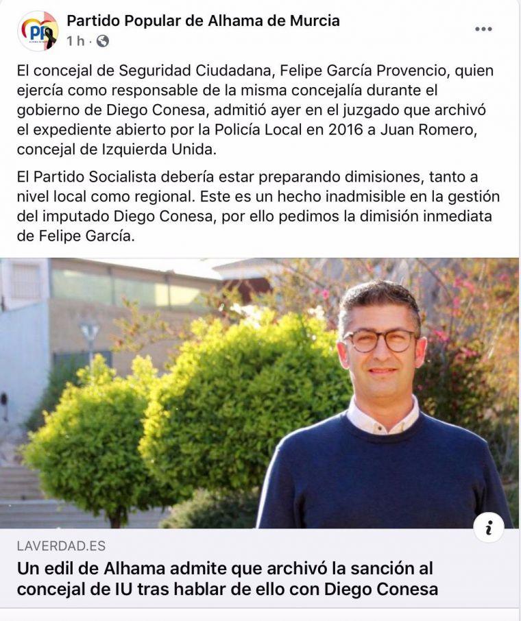 El PP de Alhama pide la dimisión 'inmediata' de Felipe García