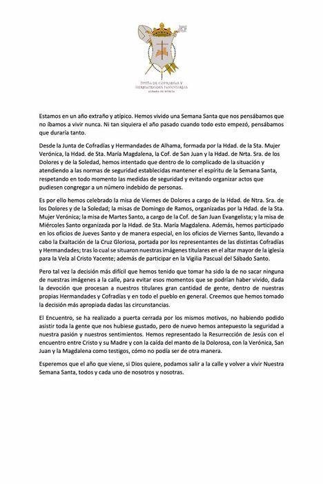 Comunicado de la Junta de Cofradías y Hdades. de Alhama