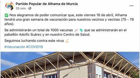 El PP Alhama anuncia la vacunación de 75 a 79 años el viernes