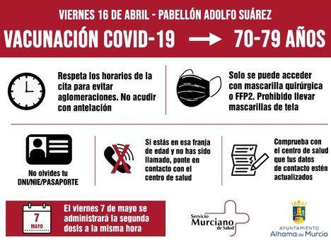 Normas para la vacunación de mayores de 70 este viernes
