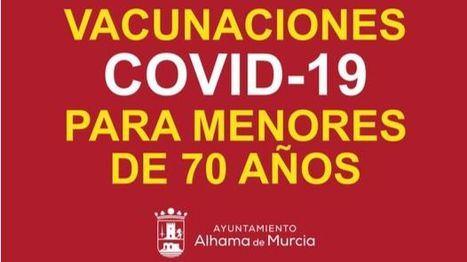 Alhameños menores de 70 años, citados en Murcia para vacunarse