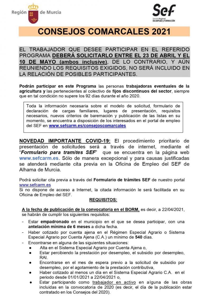 El plazo de los Consejos Comarcales finaliza el 10 de mayo