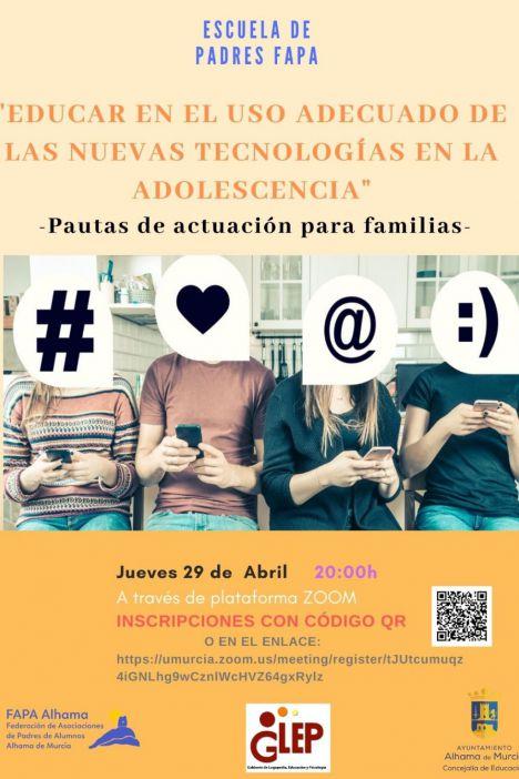 Adolescentes y nuevas tecnologías, nueva charla de la FAPA