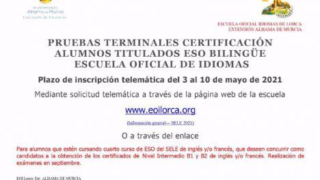 Abierto el plazo para las pruebas de certificación de ESO bilingüe