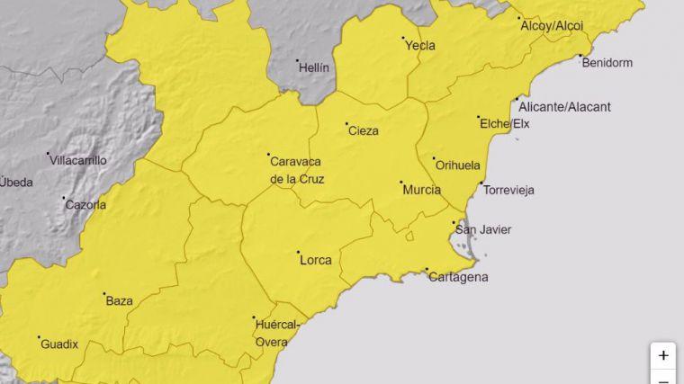Alerta amarilla por lluvias en la Región este domingo