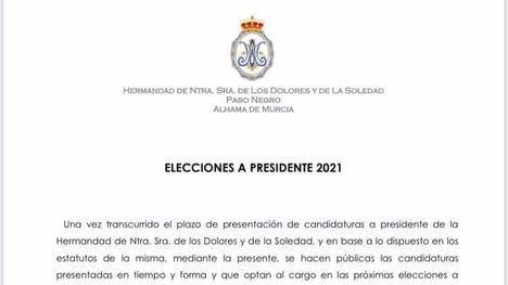El Paso Negro celebra elecciones a presidente el 13 de junio