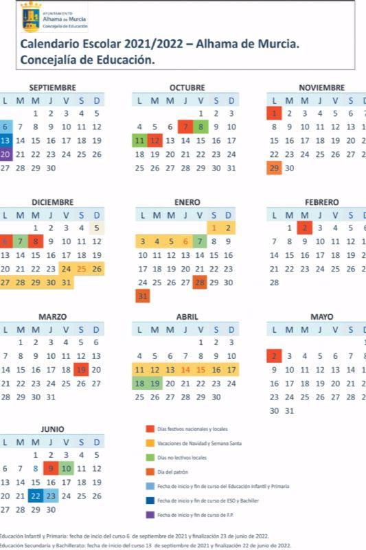 Este es el calendario escolar de Alhama el próximo curso 2021-22