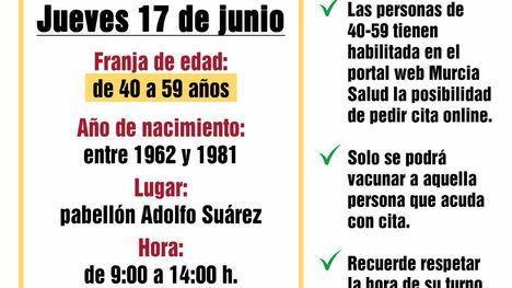 Este jueves 'maratón' de vacunación en pabellón Adolfo Suárez