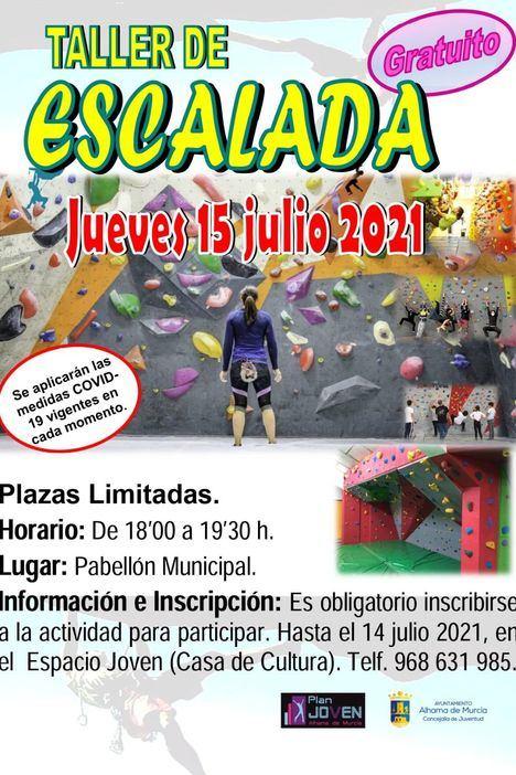 Este jueves taller de escalada en el pabellón Adolfo Suárez