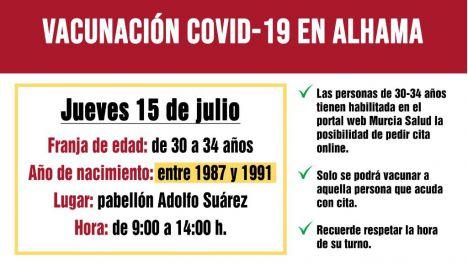 Los treintañeros de 30 a 34 ya pueden pedir cita para vacunarse el día 15