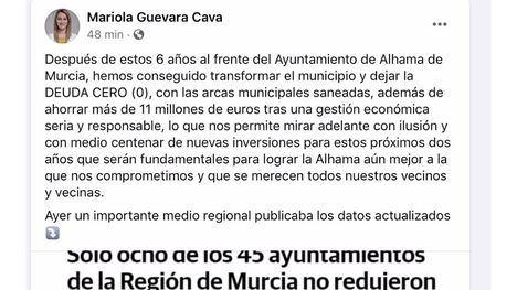 Guevara destaca la deuda cero de Alhama