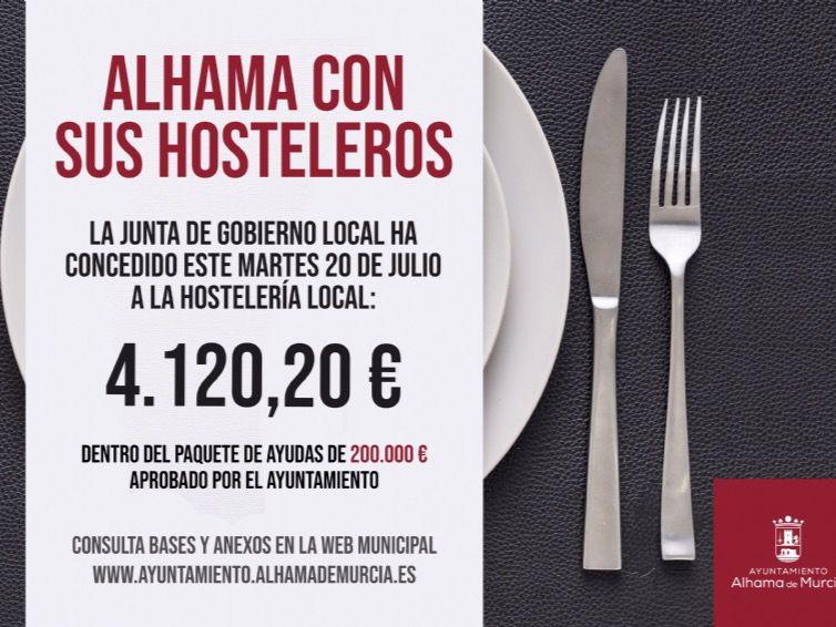 Tres hosteleros de Alhama reciben ayudas municipales
