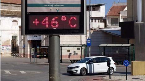 Termómetro en el centro de Alhama este jueves por la tarde.