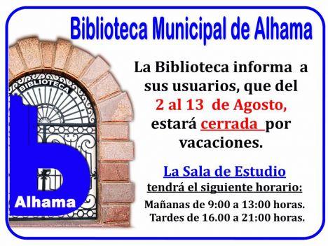 La Biblioteca de Alhama cierra por vacaciones