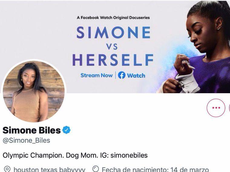 Perfil de Simone Biles en Twitter.