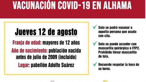 Segunda jornada para la vacunación a mayores de 12 años este jueves