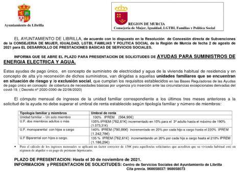Abierto el plazo de ayudas al pago de luz y agua en Librilla