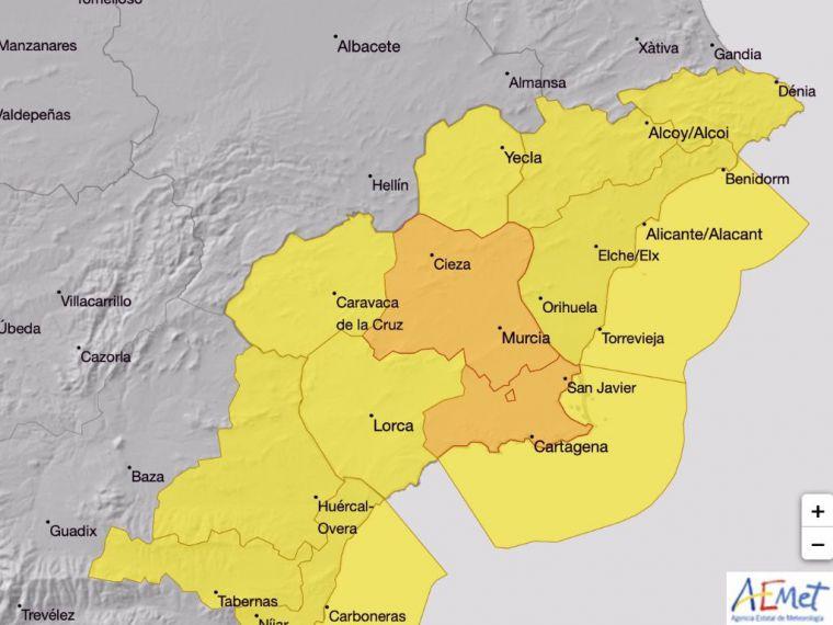 Alerta amarilla por lluvias este lunes en el Valle del Guadalentín