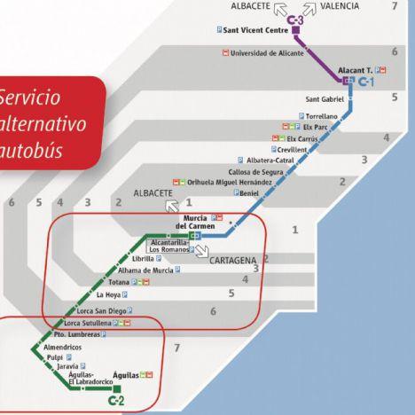 Publicados los horarios del servicio de autobus sustituto del tren