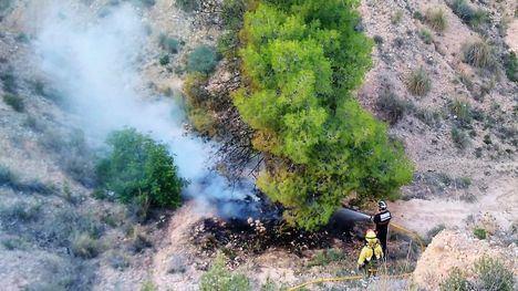 Los Bomberos evitan un incendio forestal en Totana, en El Rallerico