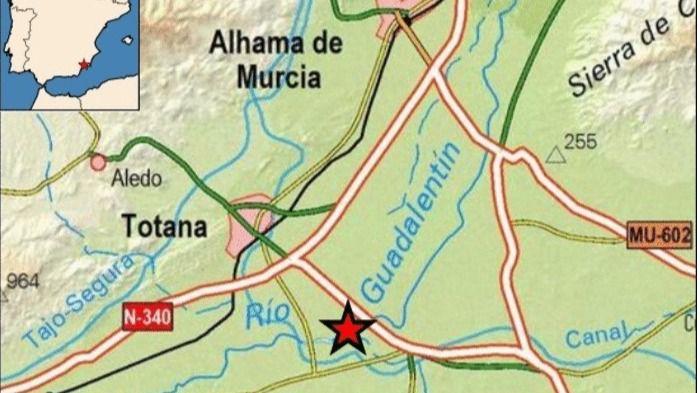 Totana registra un terremoto de 2,1 grados al sureste del municipio