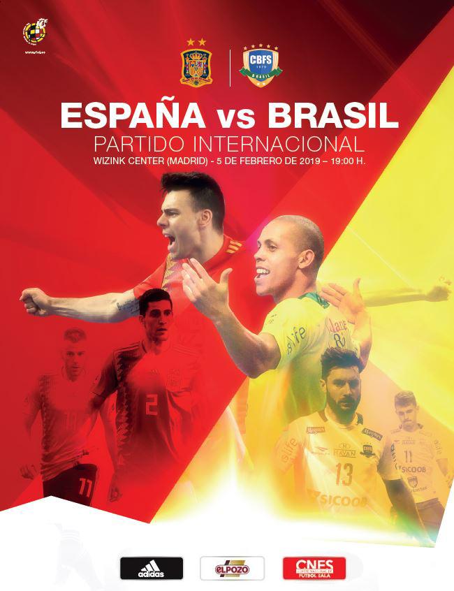 El Pozo patrocina el amistoso de fútbol sala España-Brasil