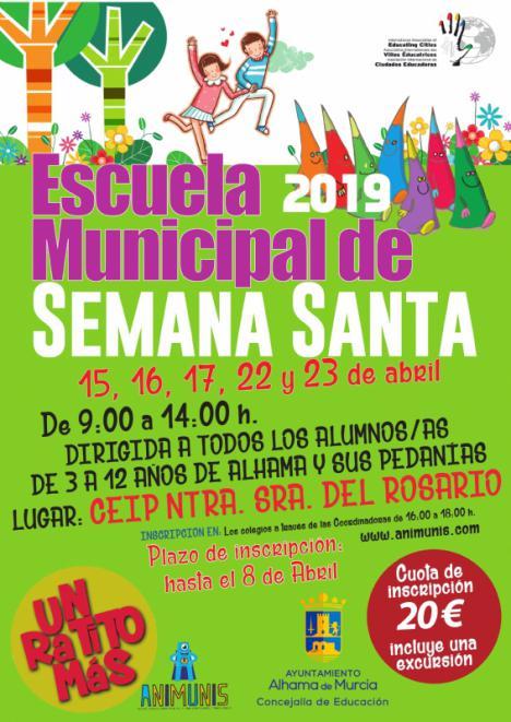 Abierto el plazo para la Escuela Municipal de Semana Santa 2019