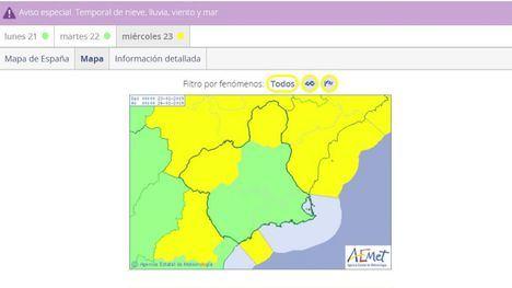 Alerta amarilla por temporal de frío y viento en la Región