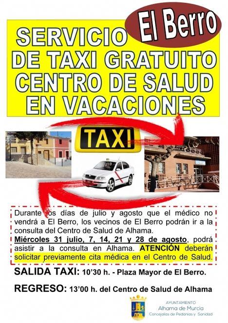 El Berro tendrá taxi en vacaciones para ir al médico en Alhama