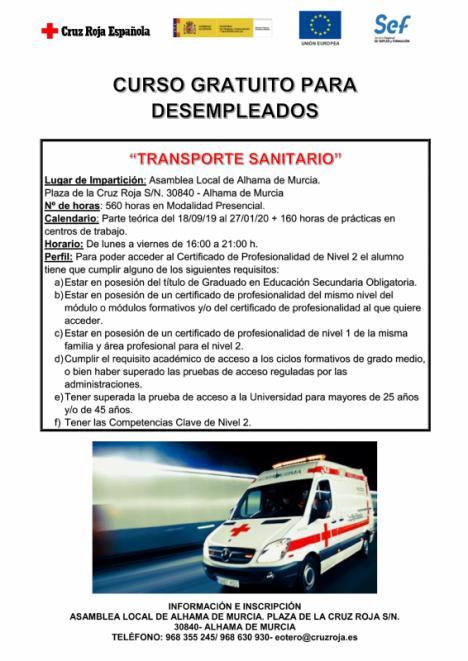 Cruz Roja ofrece un curso de transporte sanitario a parados