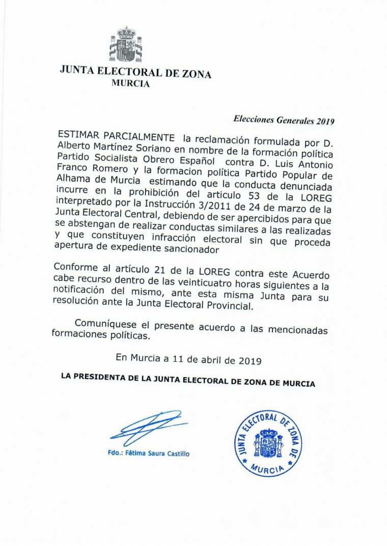 El PP de Alhama y su candidato, apercibidos por la Junta Electoral