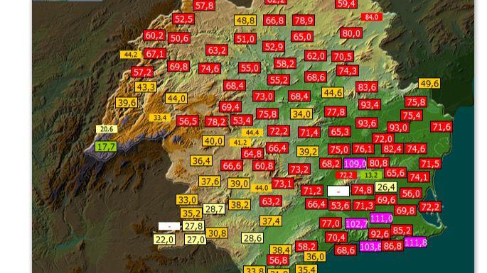La lluvia deja más de 70 litros por metro cuadrado en Alhama