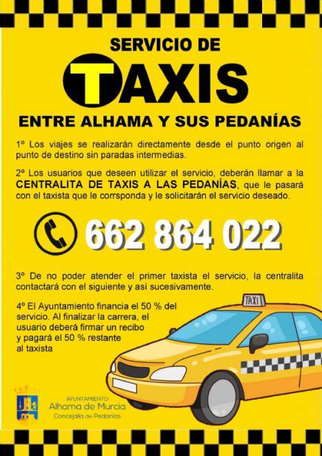 El Ayuntamiento renueva el servicio de taxis para las pedanías