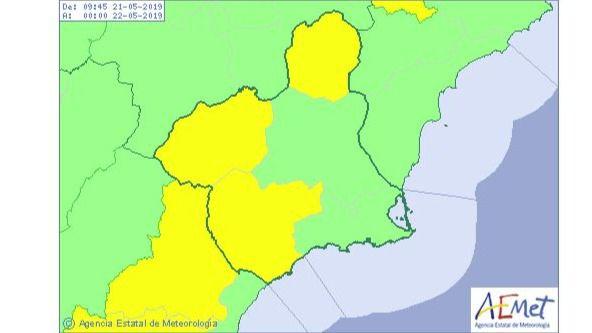 Amplían el aviso amarillo por tormentas al Guadalentín