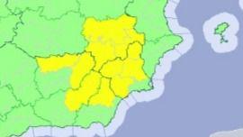 Aviso amarillo por tormentas a partir de las 12:00 horas