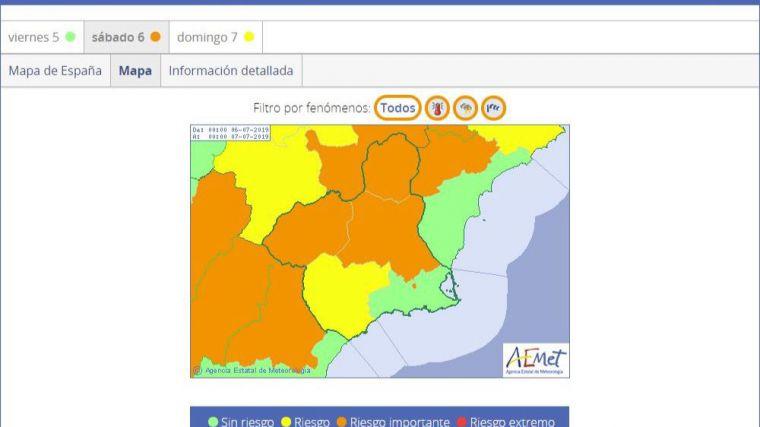Activan la alerta naranja en la mitad de la Región por calor y tormentas