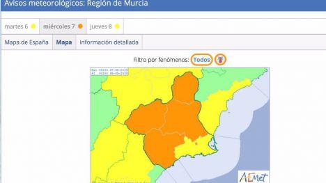 La Aemet eleva la alerta a naranja por el calor en gran parte de la Región