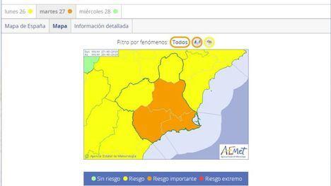 La Aemet eleva a nivel naranja la alerta por lluvias y tormentas