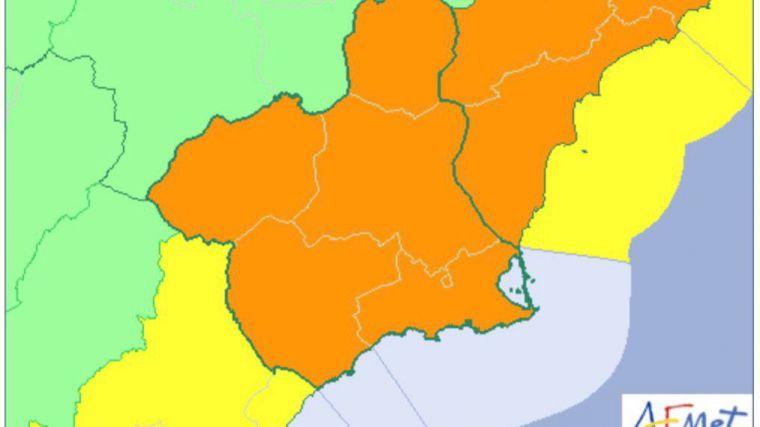 La Aemet eleva la alerta a naranja por fuertes lluvias el jueves