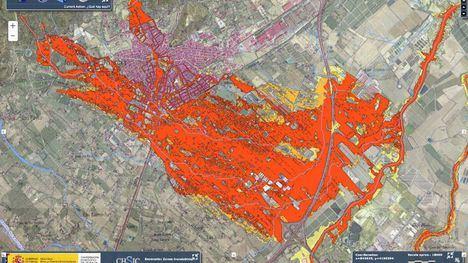 FOT. Una aplicación de la CHS recoge las zonas inundables de Alhama