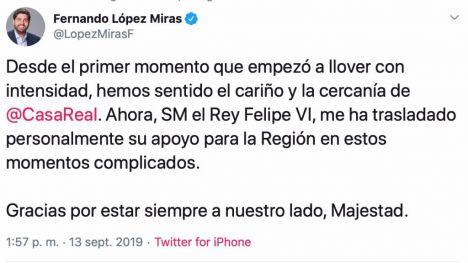 La Casa Real traslada su apoyo a la Región de Murcia