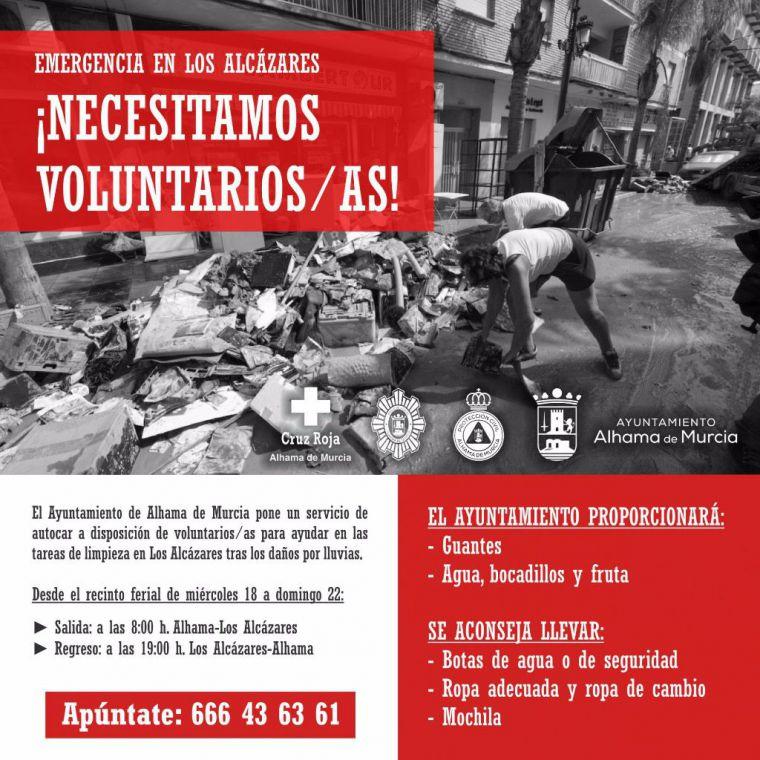 VÍD. Alhama fletará un autobús de voluntarios a Los Alcázares