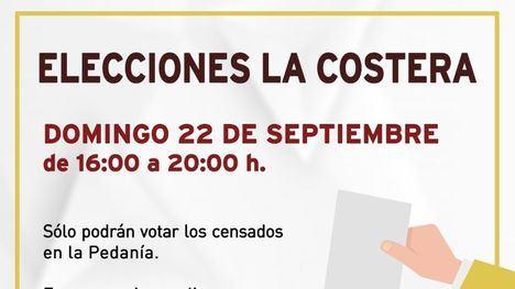 Las elecciones en La Costera y Las Cañadas, el domingo 22