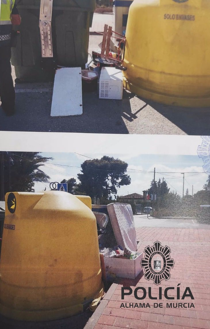 Un vecino de Alhama pillado 'in fraganti' tirando basura a la calle