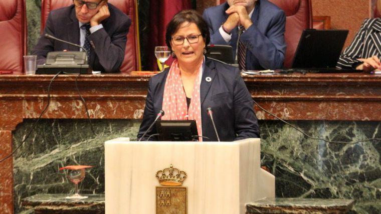 La diputada socialista Magdalena Sánchez Blesa, este miércoles en la Asamblea Regional.