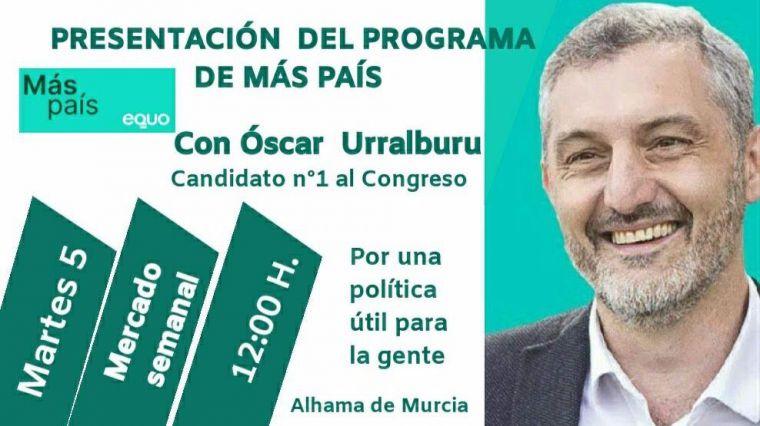 Urralburu, de Más País, mañana en Alhama en el mercado semanal